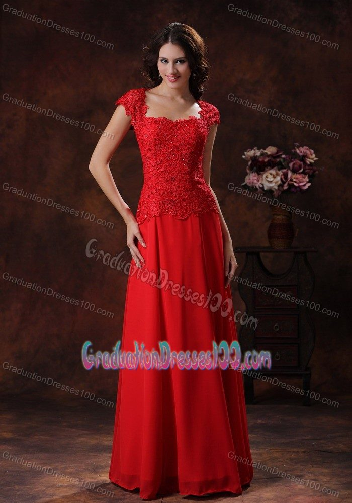 Floor Length Graduation Dresses For Middle School with Lace in Red
