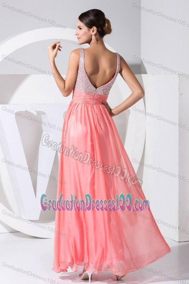 Two-toned Straps Beading 5th Grade Graduation Dresses in Chiffon