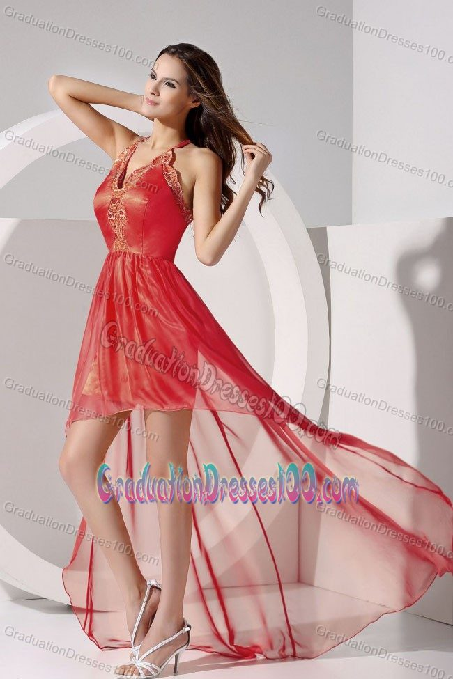 High-low Halter Graduation Dress for Grade 8 with Criss Cross Back