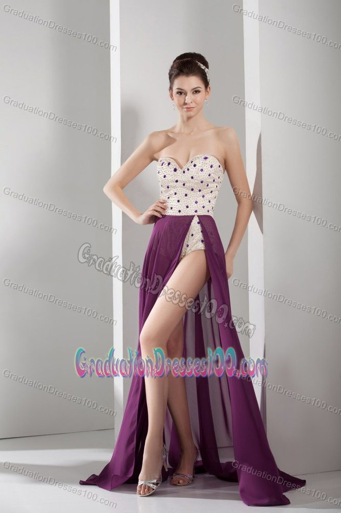 Purple and White Sweetheart Cute Graduation Dresses with Beading