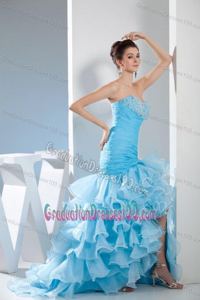 Mermaid Sweetheart Beaded Junior Graduation Dresses with Ruffles