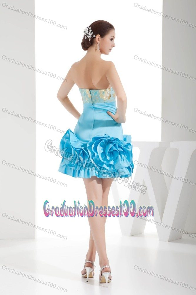 Embroidered Aqua Blue Strapless Grad Dresses with Hand Flowers