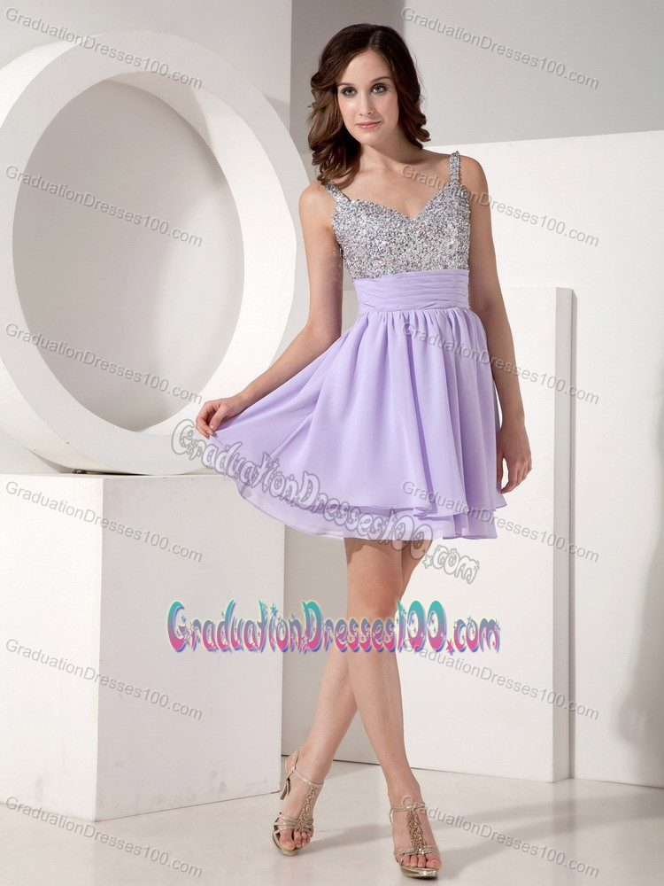 Lilac Mini-length Beaded High School Graduation Dresses with Straps