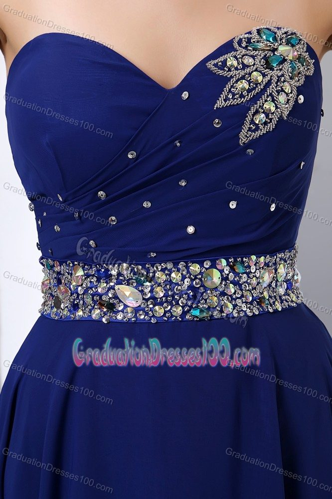 The Best Royal Blue Beaded Long Graduation Dresses for College