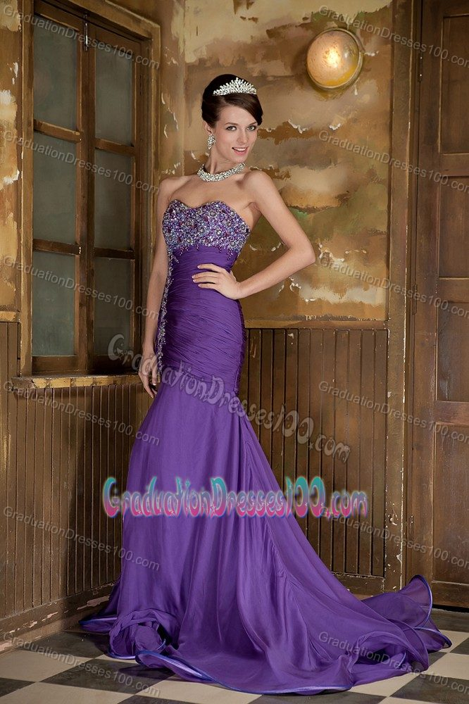 Puffy Mermaid Beaded Purple Graduation Dresses for 8th Grade