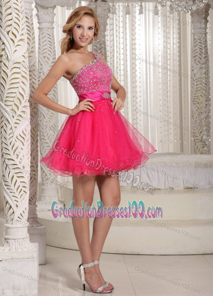 Hot Pink Beaded One Shoulder Short Evening Dress For Graduation