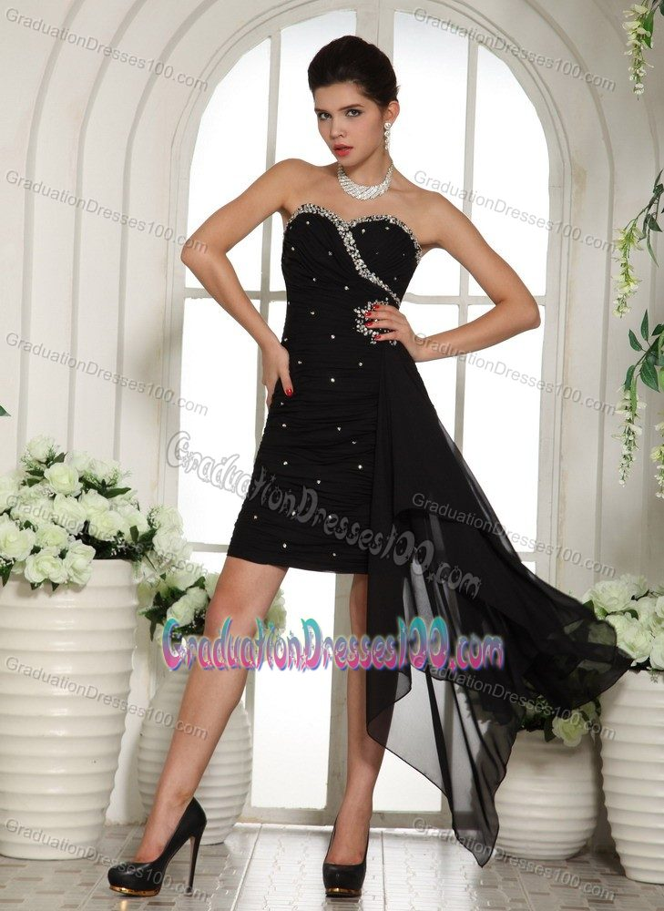 Asymmetrical Sweetheart Black Beaded College Graduation Dresses