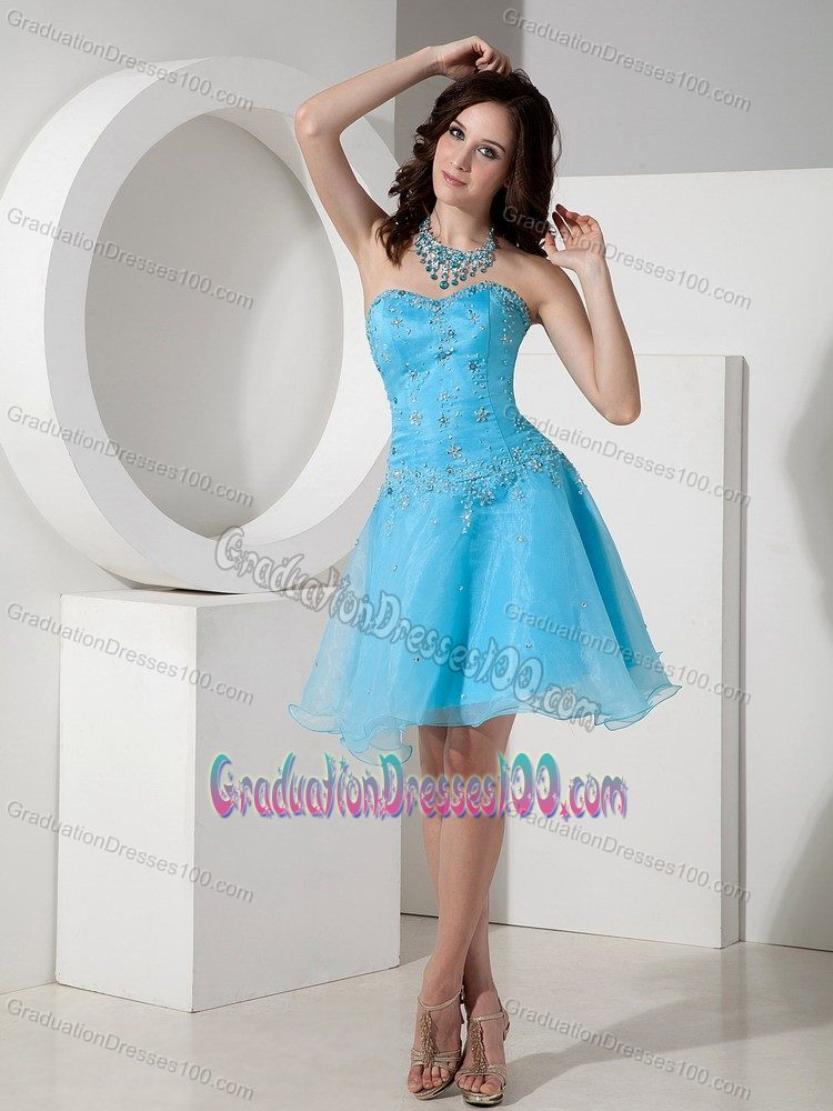 Lace-up Baby Blue Beaded Short Eighth Grade Graduation Dresses
