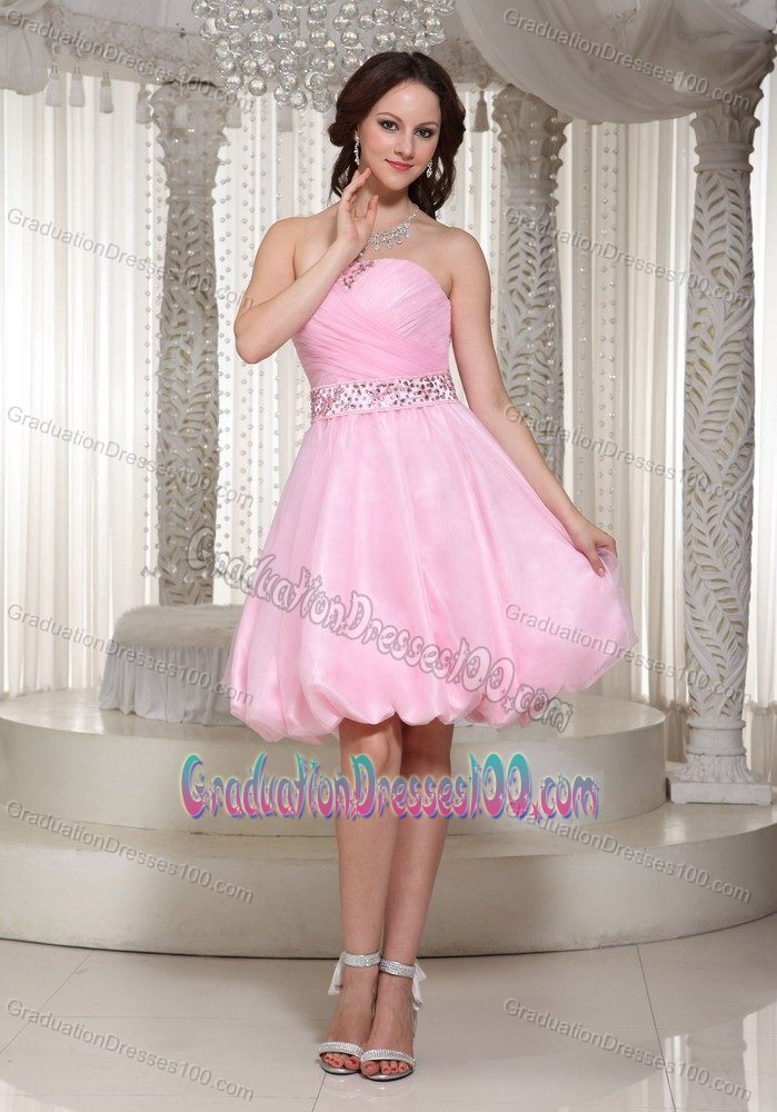 Zipper-up Baby Pink Beaded Short Graduation Dress with Pick-ups