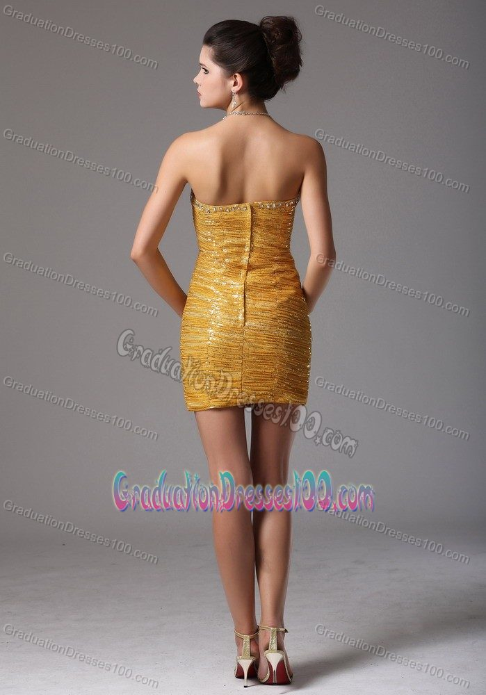 Hot Sale Sexy Gold Sequin Mini-length Graduation Dress for Girls