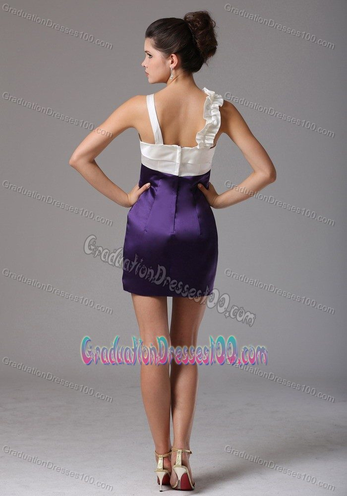 Wholesale White and Purple Mini Graduation Dresses with Flower