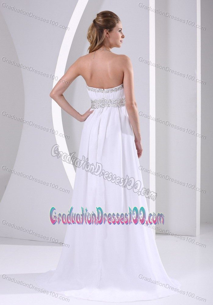 Cheap Brush Train Beaded White Graduation Dresses under 150