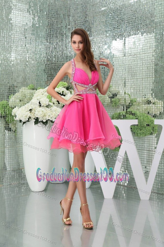 Cool Back Beaded Hot Pink College Graduation Dress with Cutouts