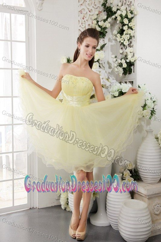 Strapless Short Organza Grad Dresses with Beading in Light Yellow