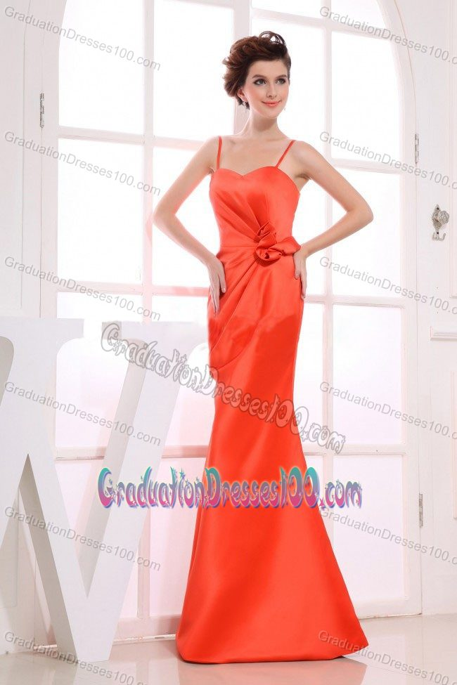 Spaghetti Straps Orange Red Long College Graduation Dresses