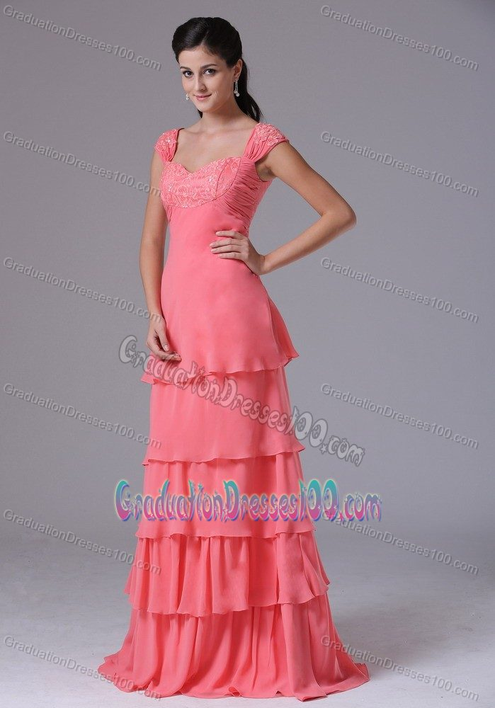 New Tiered Appliqued Watermelon Graduation Dress for College