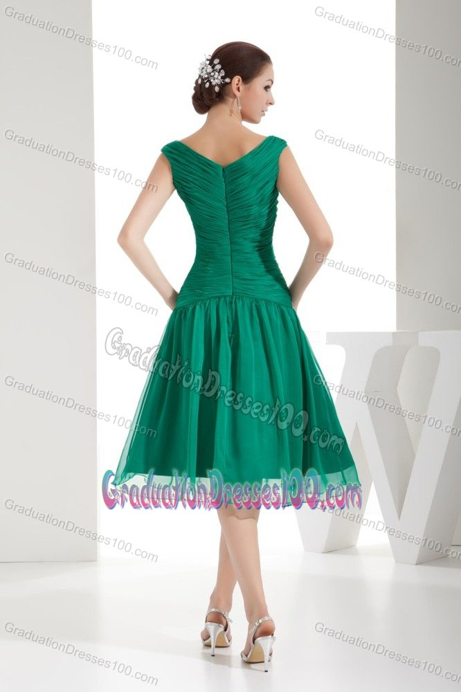Green Bateau Neck Beads and Ruched Graduation Dress for Juniors