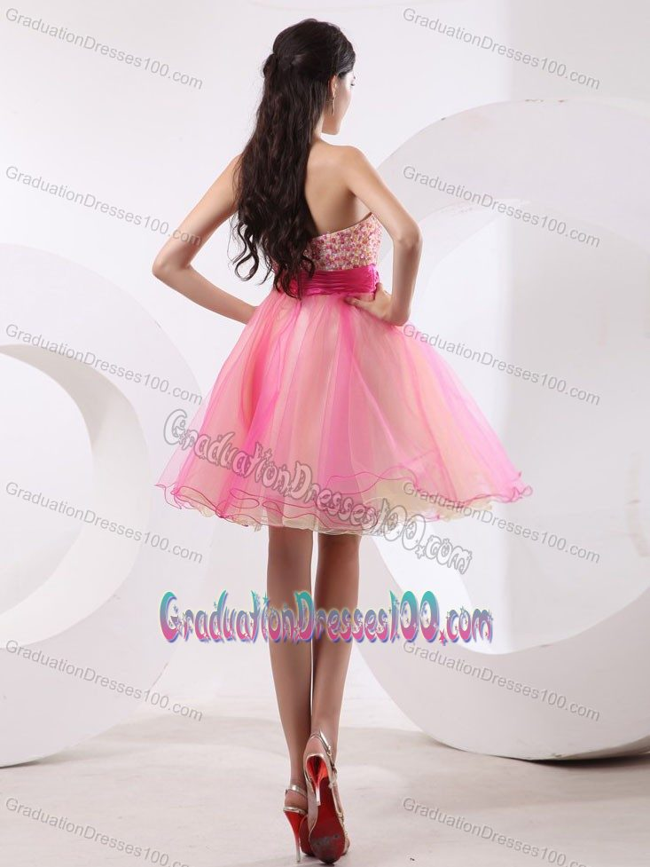 Beaded Pink Graduation Dresses For High School with Hand Flower