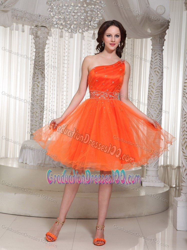 Organza Orange One Shoulder Pageant Grad Dresses with Beading