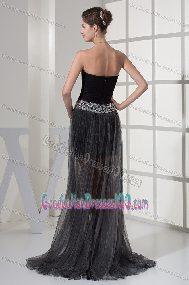 Sweetheart Black High-low Senior Grad Dress with Beaded Ribbon