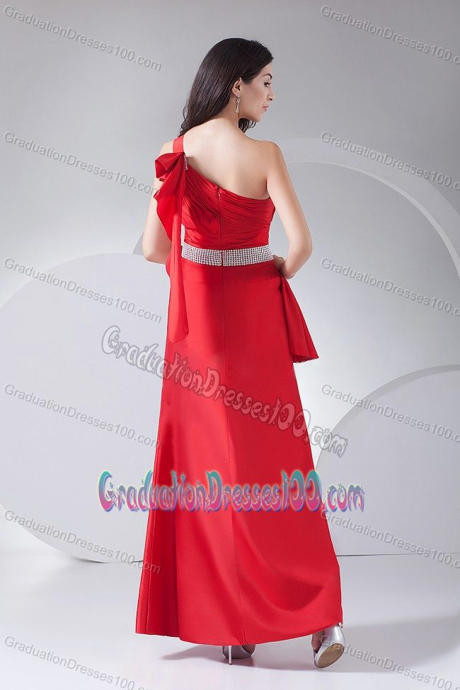 One Shoulder Red Beaded Graduation Dress with Ruche and Layers