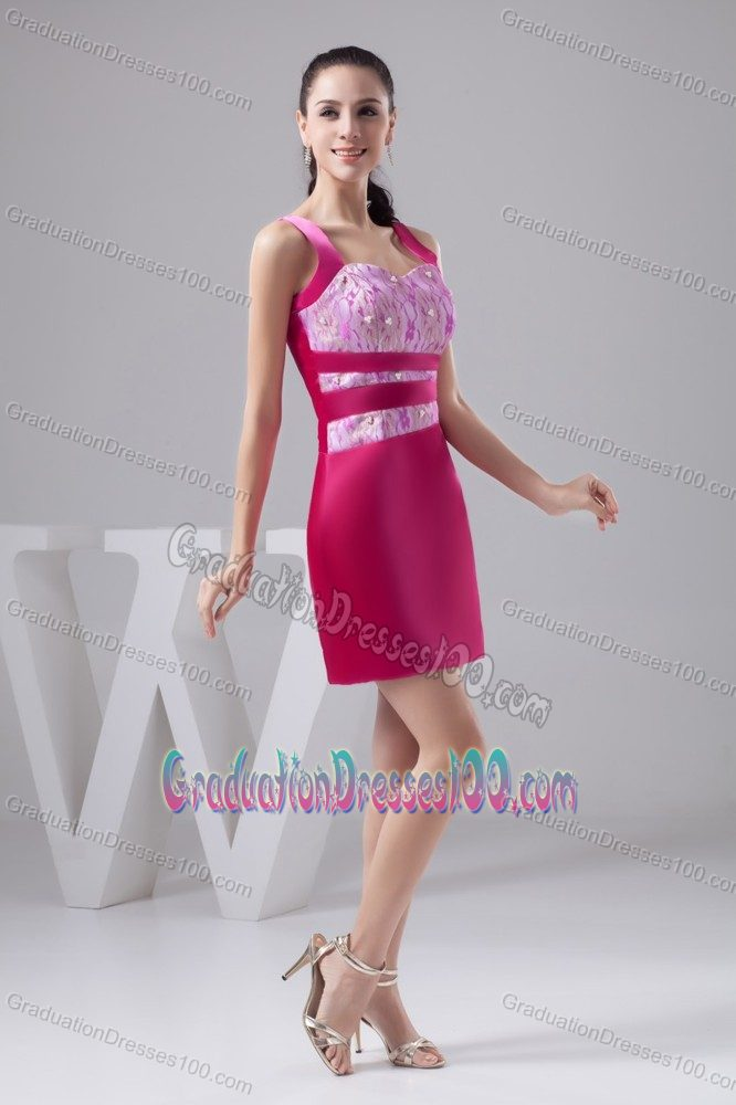 Satin Straps Hot Pink Mini Graduation Dress with Lace Decoration