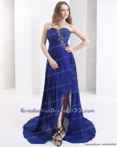 2015 Unique Sweetheart Graduation Dress with Beading and Brush Train