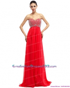 Beading Sweetheart Ruching Long Graduation Dresses with Brush Train