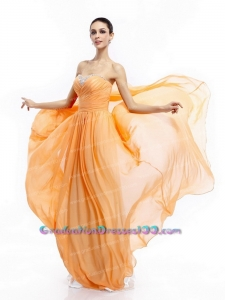 Popular Beading Sweep Train Orange Long Graduation Dresses with Ruching