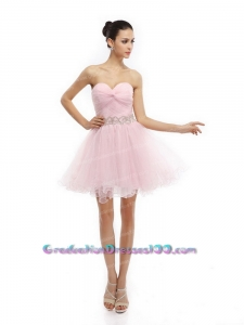 Unique Baby Pink Sweetheart Ruching Short Graduation Dresses for 2015
