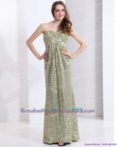 Unique One Shoulder Floor Length Sequined Graduation Dress for 2015