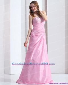 2015 Exclusive Baby Pink Sweetheart Long Graduation Dress with Beading and Ruching