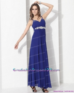 2015 Wonderful Ankle Length Blue Long Graduation Dress with Beading