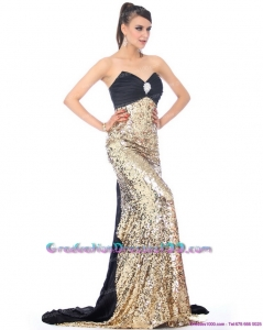 Most Popular Brush Train 2015 Graduation Dress with Ruching and Sequins