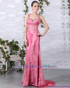 Rose Pink Beading Long 2015 Graduation Dresses with Brush Train