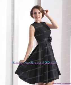 2015 Perfect Black Knee Length8th Grade Graduation Dresses with Bowknot