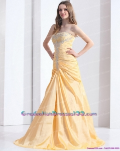 Brush Train Gold 8th Grade Graduation Dresses with Ruching and Beading