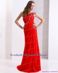 Elegant 2015 One Shoulder Red 8th Grade Graduation Dresses with Beadings and Brush Train
