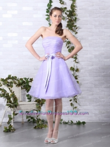 Lilac Strapless Ruching Mini Length 2015 Graduation Dresses with Bownot