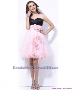 Sweetheart Sequins and Hand Made Flowers 2015 Graduation Dresses in Pink and Black