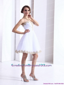 White Sweetheart Beaing 2015 Graduation Gown with Appliques