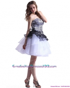 Zebra Printed Sweetheart White 8th Grade Graduation Dresses with Ruffled Layers