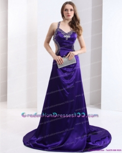 Halter Top Purple Criss Cross 2015 Graduation Dresses with Court Train