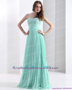 2015 Brush Train Apple Green Graduation Dress with Beading and Pleats