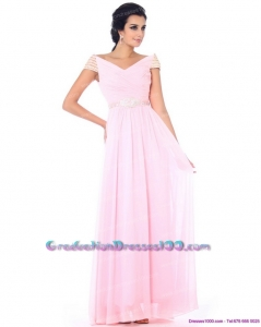 2015 Perfect Off the Shoulder Beading Graduation Dress in Baby Pink