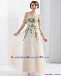 Exquisite 2015 Sweetheart Floor Length Graduation Dress with Sequins