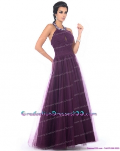 Gorgeous 2015 Halter Top Graduation Dress with Ruching and Beading