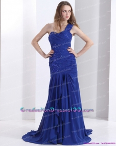 Pretty 2015 One Shoulder Graduation Dress with Ruching and Beading