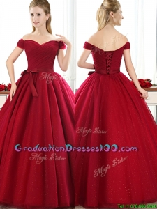 New Arrivals Off the Shoulder Wine Red Graduation Dresses with Bowknot