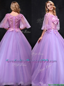 See Through Half Sleeves Bateau Graduation Dresses with Hand Made Flowers